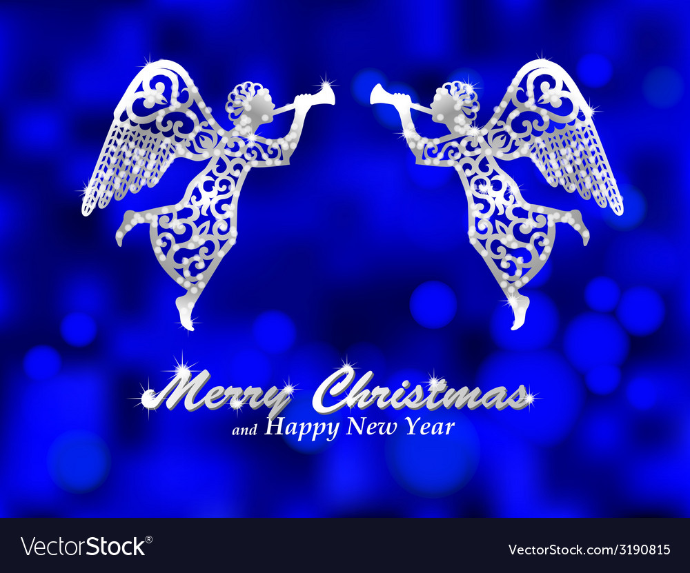 Merry christmas blue background with silver angel vector | Price: 1 Credit (USD $1)