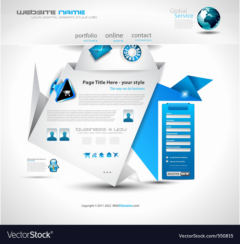 Origami website layout vector   Price: 1 Credit (USD $1)
