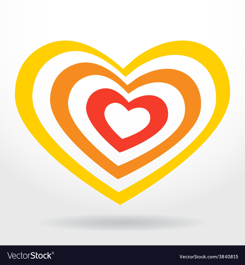 Red orange heart on white background valentines vector | Price: 1 Credit (USD $1)