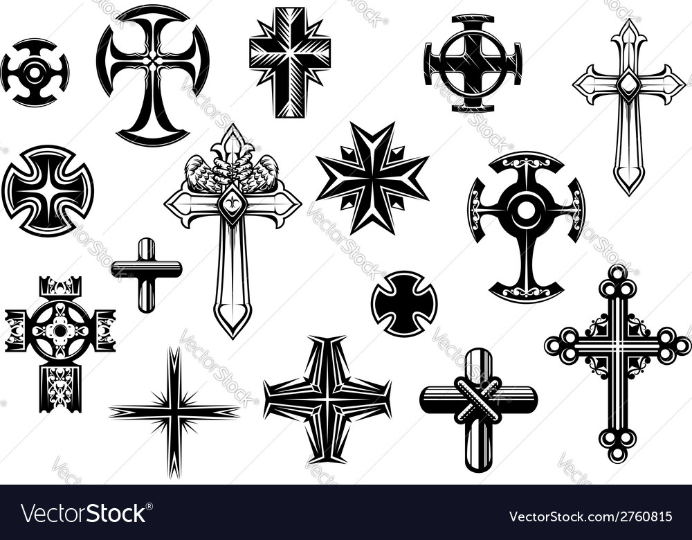 Religious crosses set vector | Price: 1 Credit (USD $1)