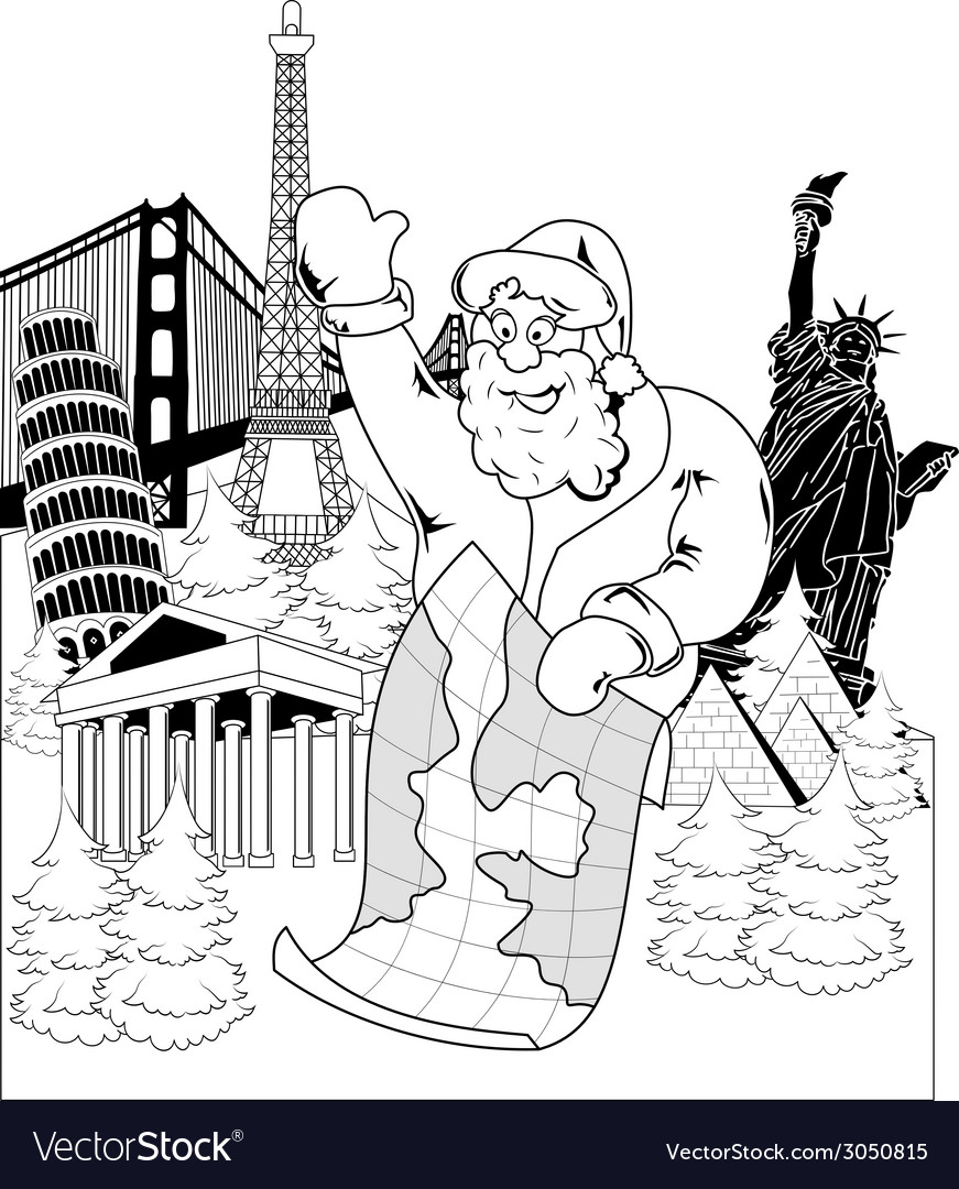 Santa claus with map vector   Price: 1 Credit (USD $1)