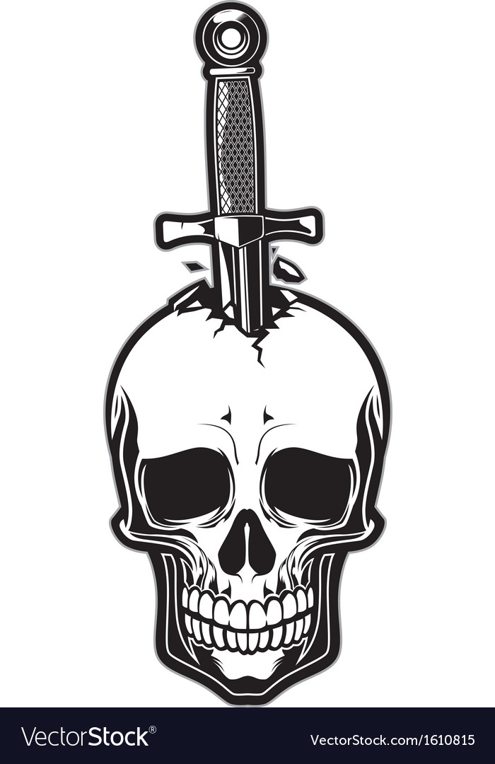 Skull stabbed by the dagger vector | Price: 1 Credit (USD $1)