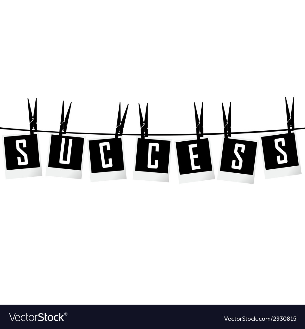 Success concept with photo frames hanging on rope vector   Price: 1 Credit (USD $1)