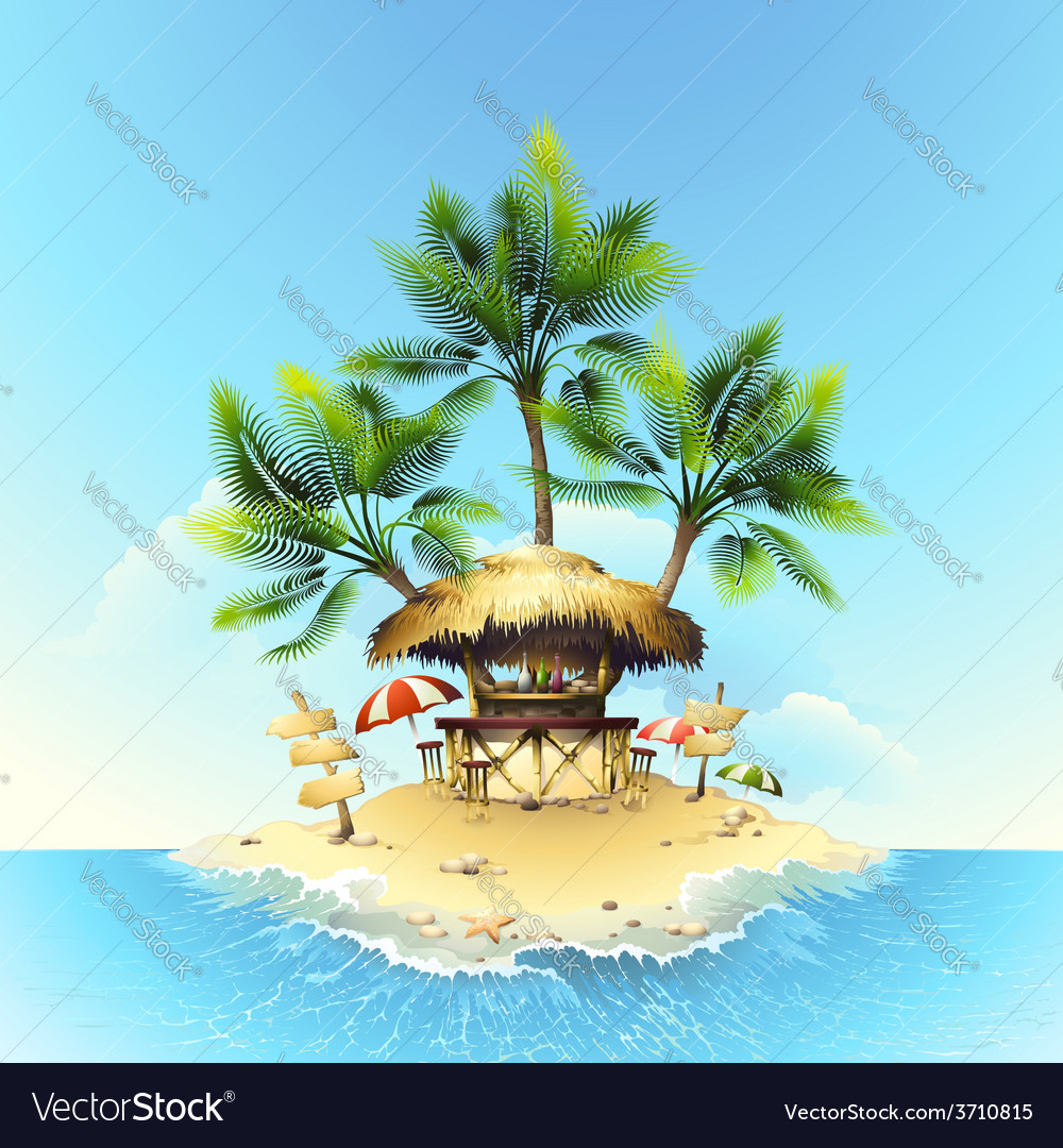 Tropical bungalow bar on island in ocean vector | Price: 3 Credit (USD $3)
