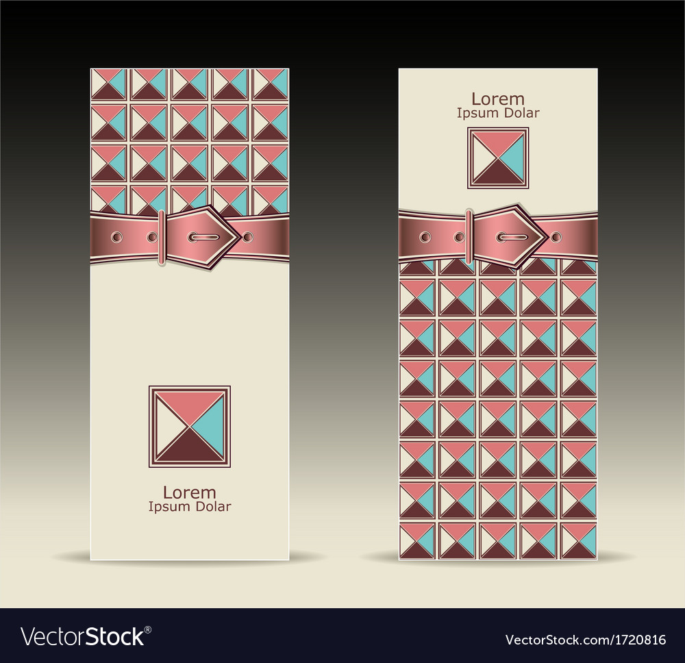 Banners or with strap buckle geometric pattern ret vector | Price: 1 Credit (USD $1)