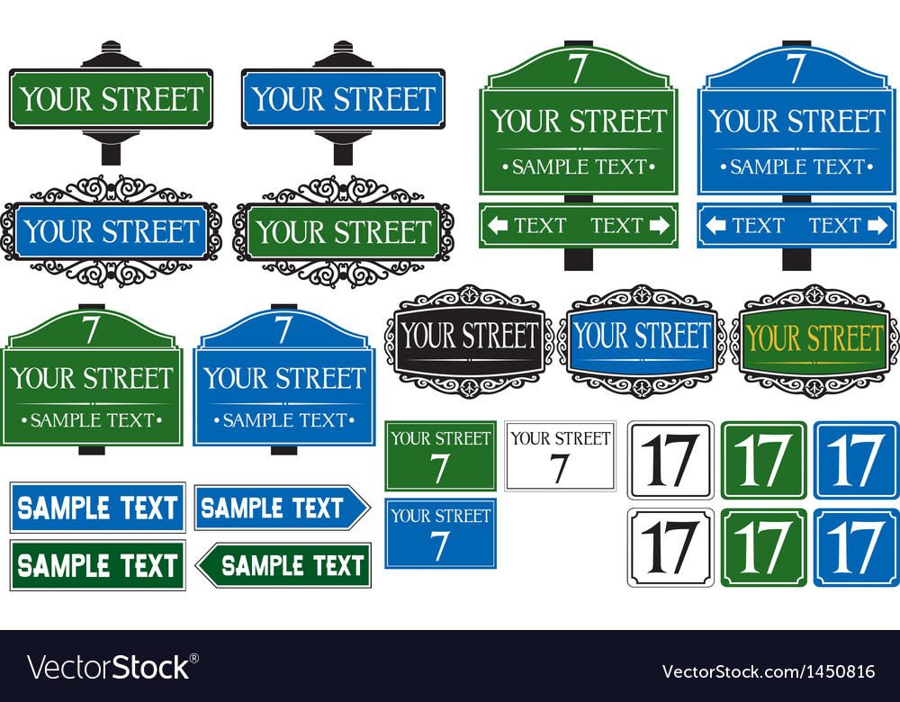 Big collection of road and street signs vector | Price: 1 Credit (USD $1)