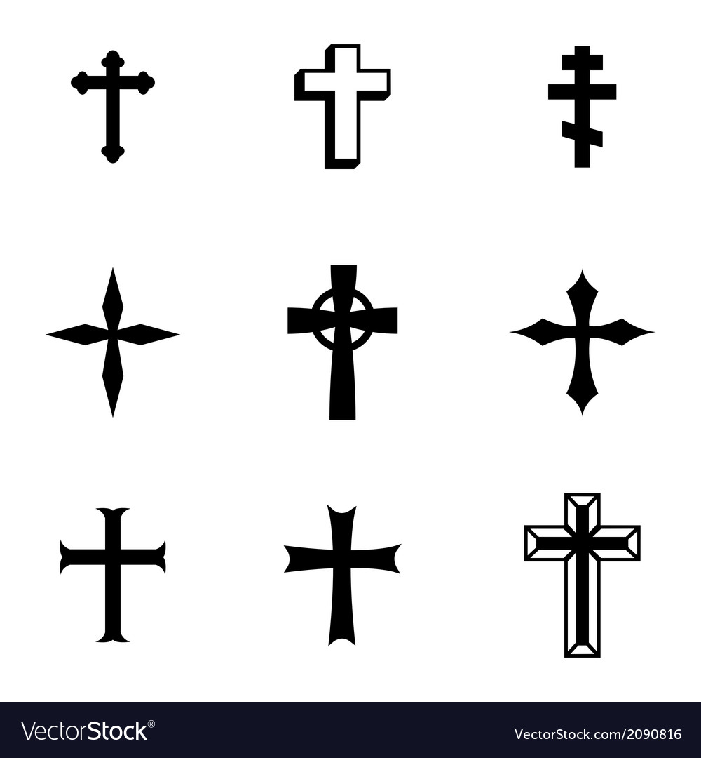 Black christia crosses icons set vector | Price: 1 Credit (USD $1)