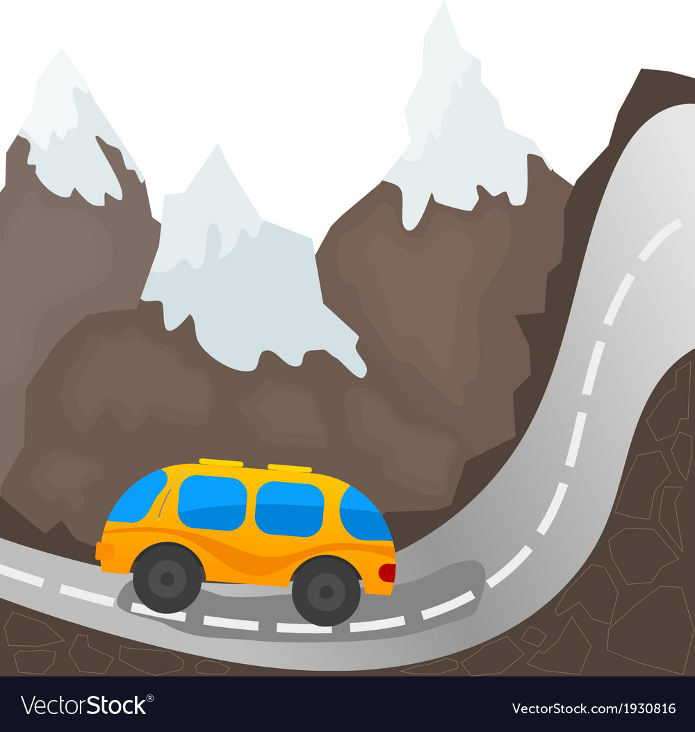 Cartoon bus on a mountain road vector | Price: 1 Credit (USD $1)
