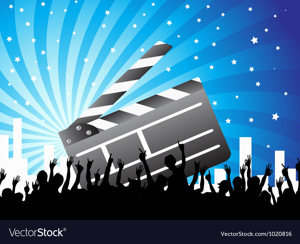 Clapper and crowd on blue background vector | Price: 1 Credit (USD $1)