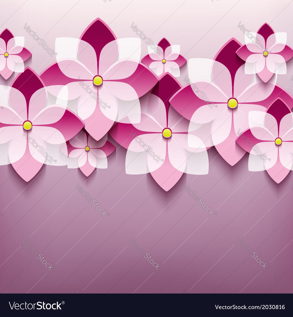 Floral trendy background with 3d flower sakura vector | Price: 1 Credit (USD $1)