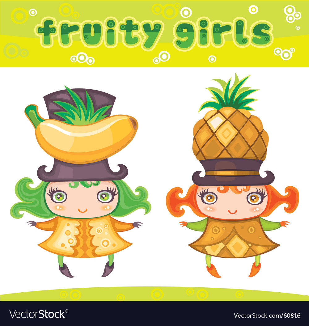 Fruity girls series 4 banana pineapple vector | Price: 3 Credit (USD $3)