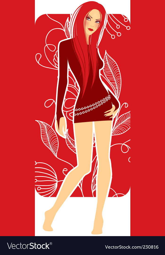 Girl in red vector | Price: 3 Credit (USD $3)