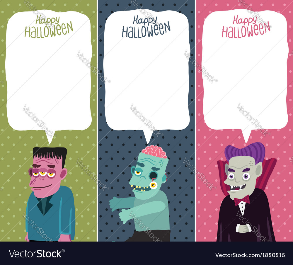 Halloween card set with monster zombie dracula vector | Price: 1 Credit (USD $1)