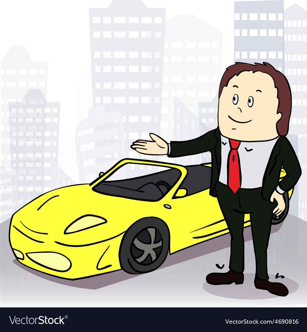 Man and comfortable car in big city vector   Price: 1 Credit (USD $1)