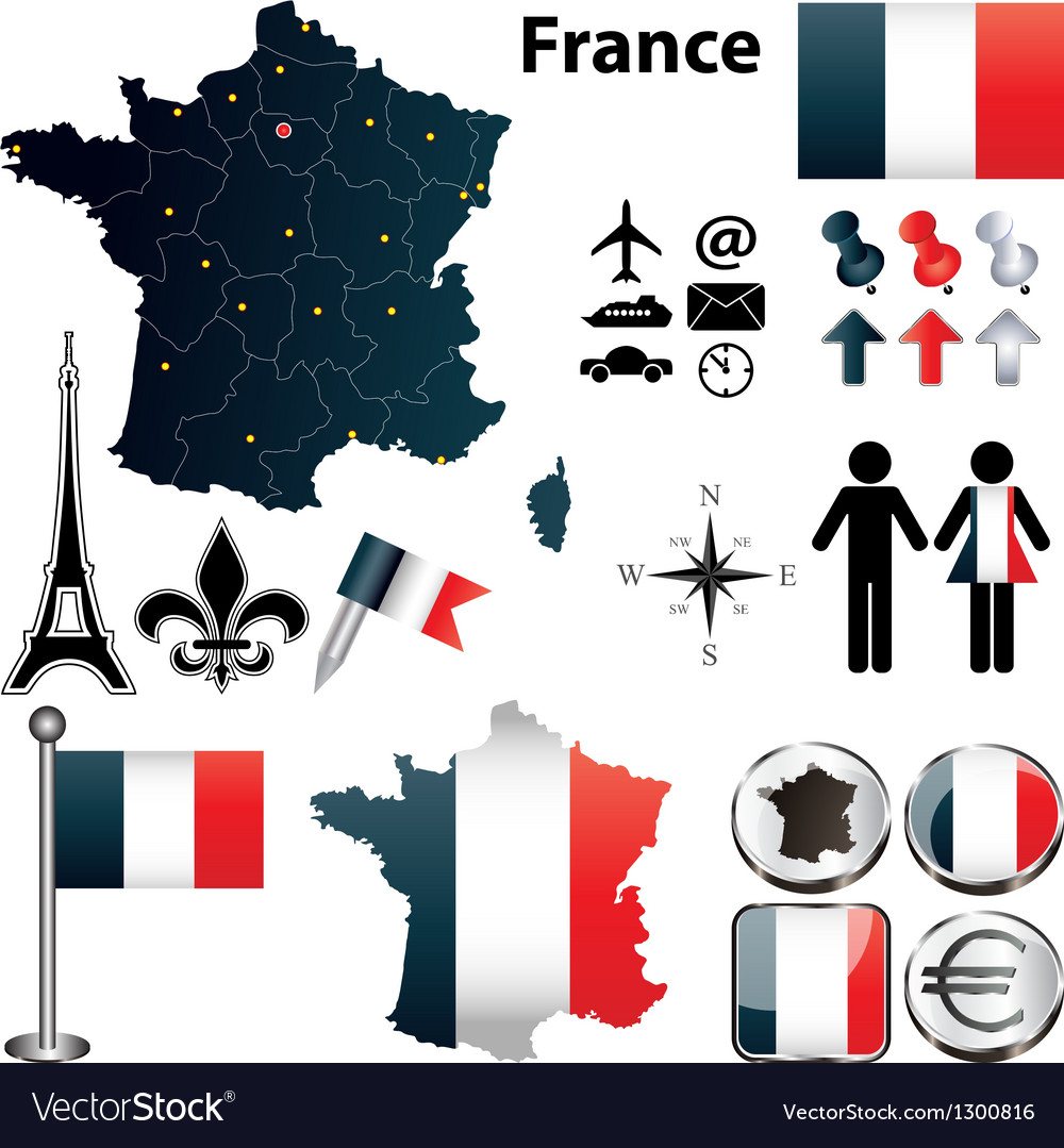 Map of france with regions vector | Price: 1 Credit (USD $1)