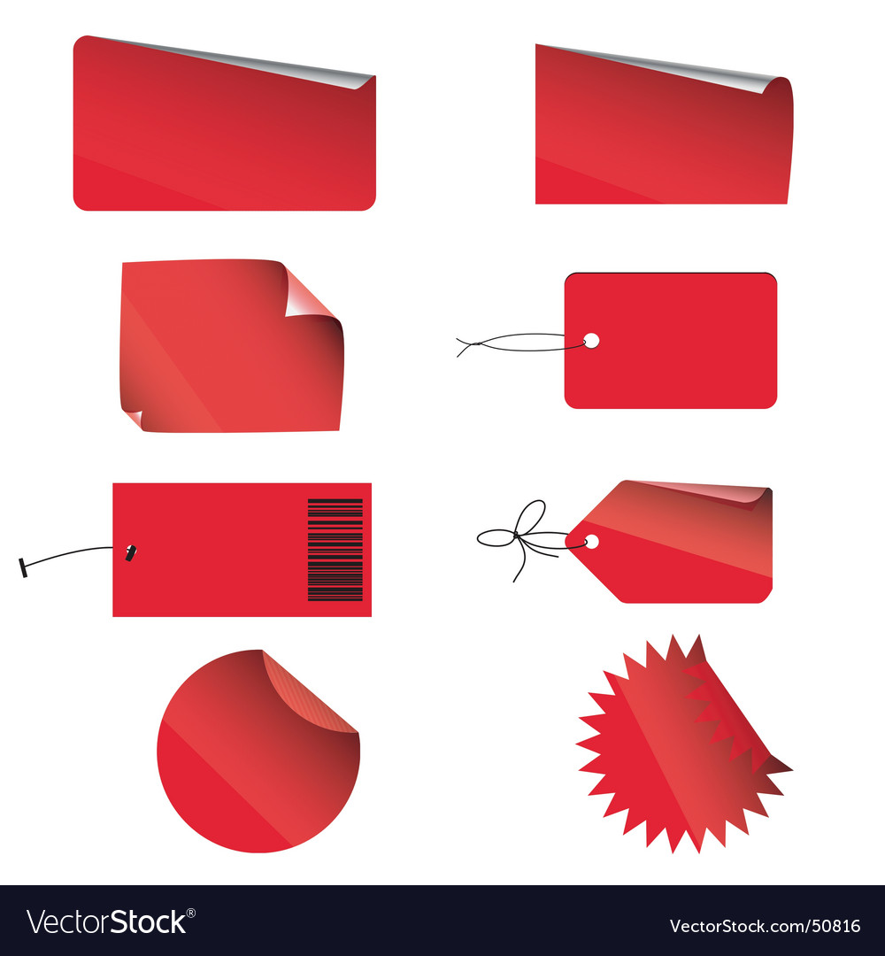 Red labels vector | Price: 1 Credit (USD $1)