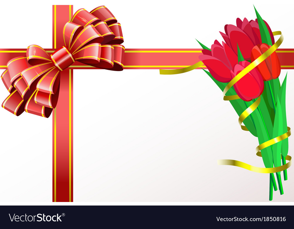 Red tulips with yellow ribbon and red bow are on vector | Price: 1 Credit (USD $1)