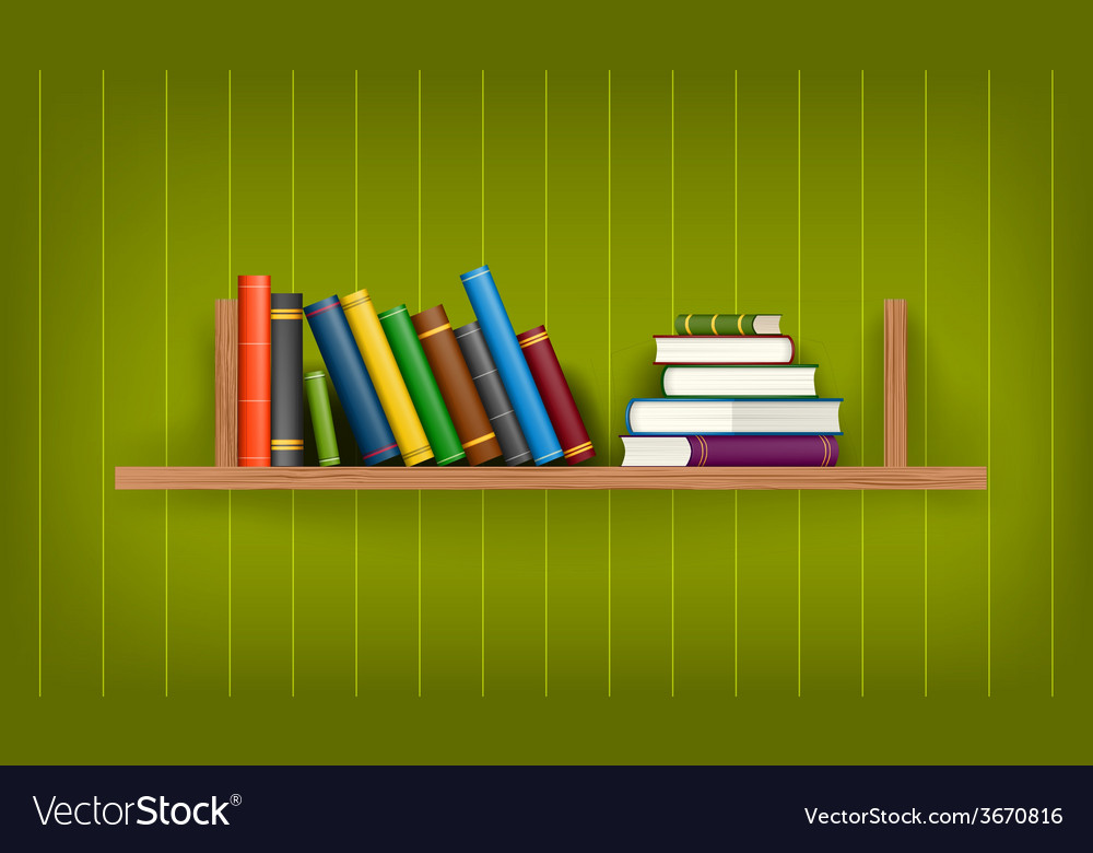 Row and stack of colorful books vector | Price: 1 Credit (USD $1)