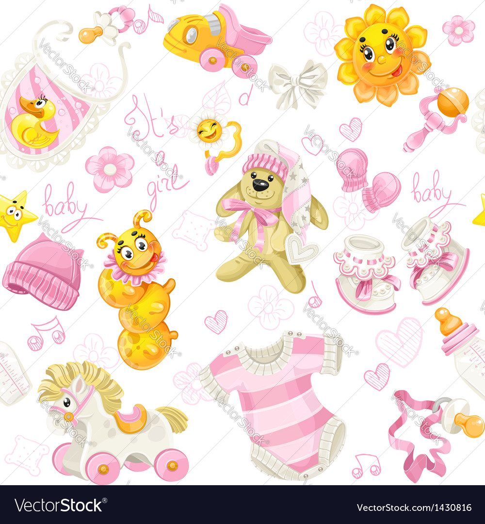 Seamless pattern of pink clothing toy and stuff vector | Price: 1 Credit (USD $1)