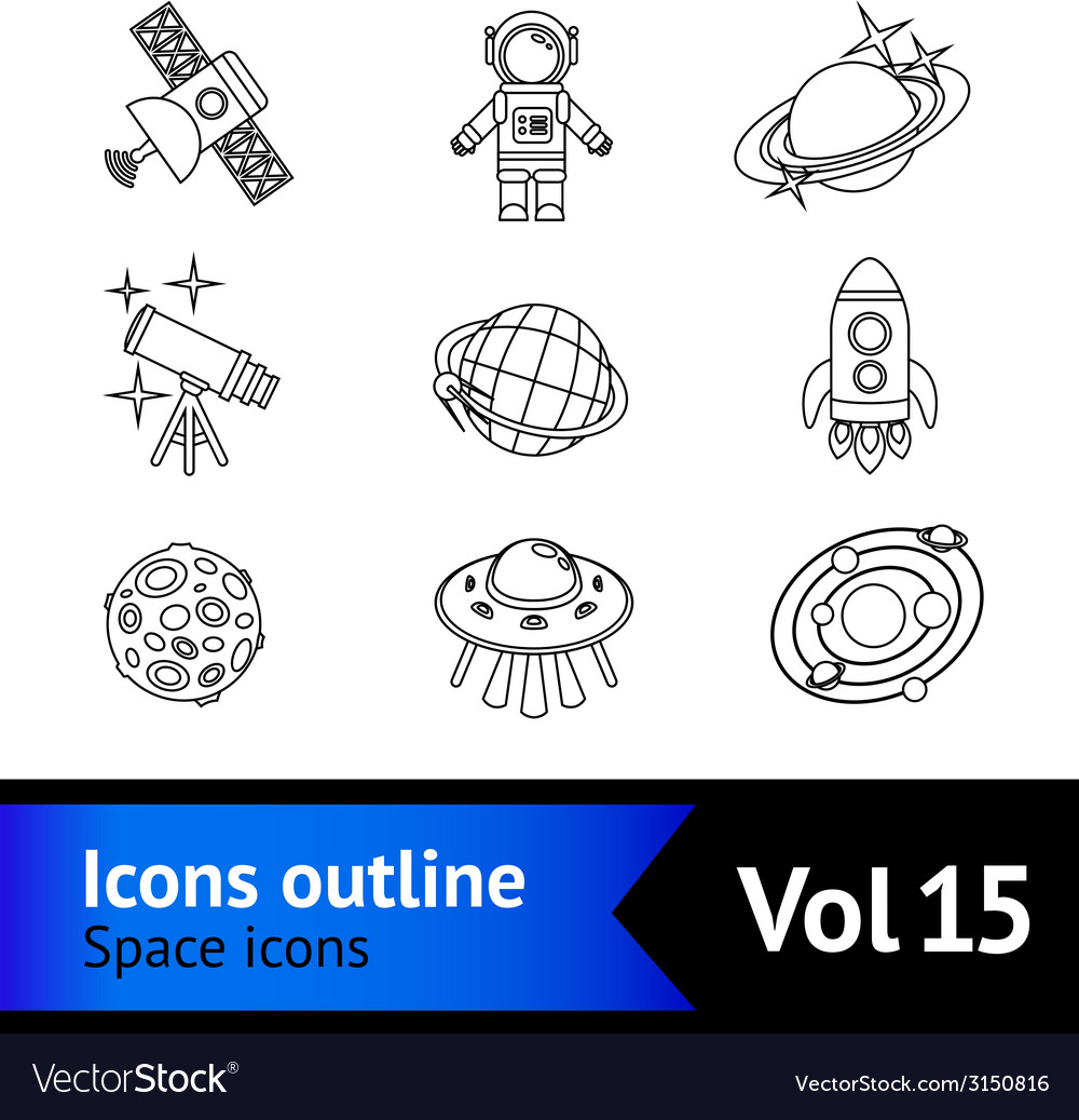 Space icons outline set vector | Price: 1 Credit (USD $1)