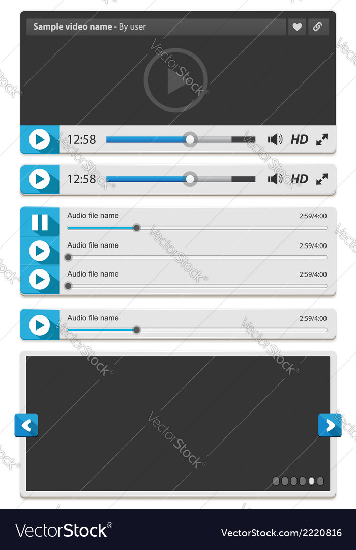 Web video and audio player vector | Price: 1 Credit (USD $1)
