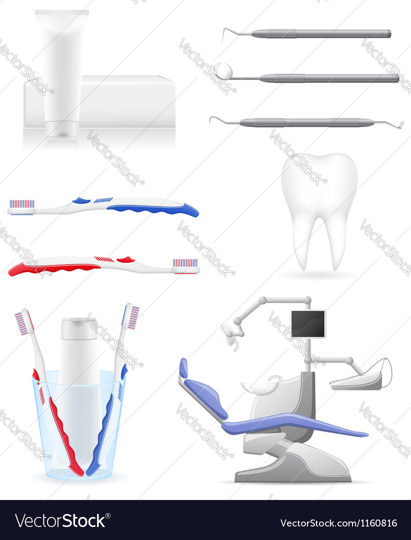 Working set dental icons vector | Price: 3 Credit (USD $3)