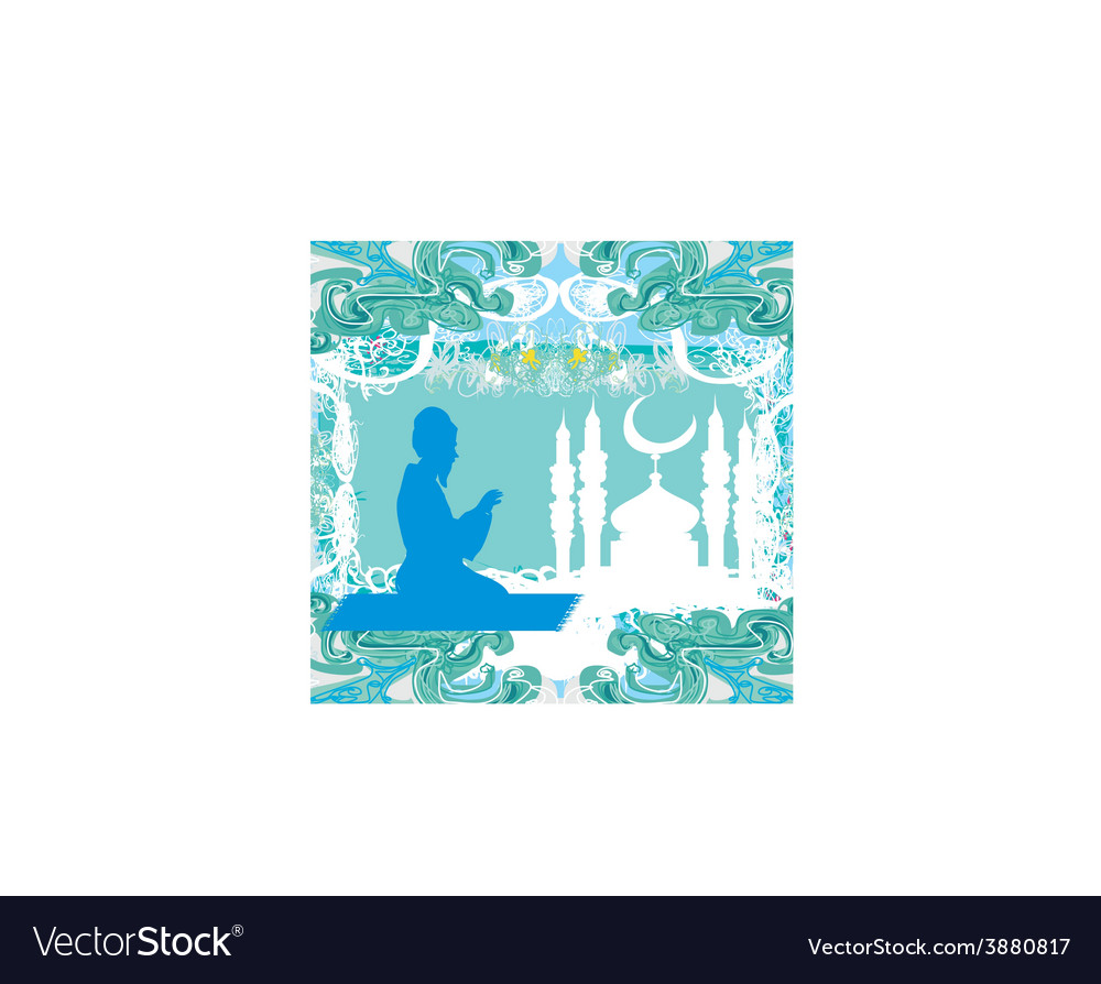 Abstract religious background - muslim man prays vector | Price: 1 Credit (USD $1)