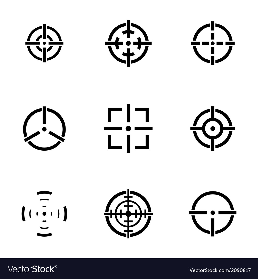Balck crosshair icons set vector | Price: 1 Credit (USD $1)