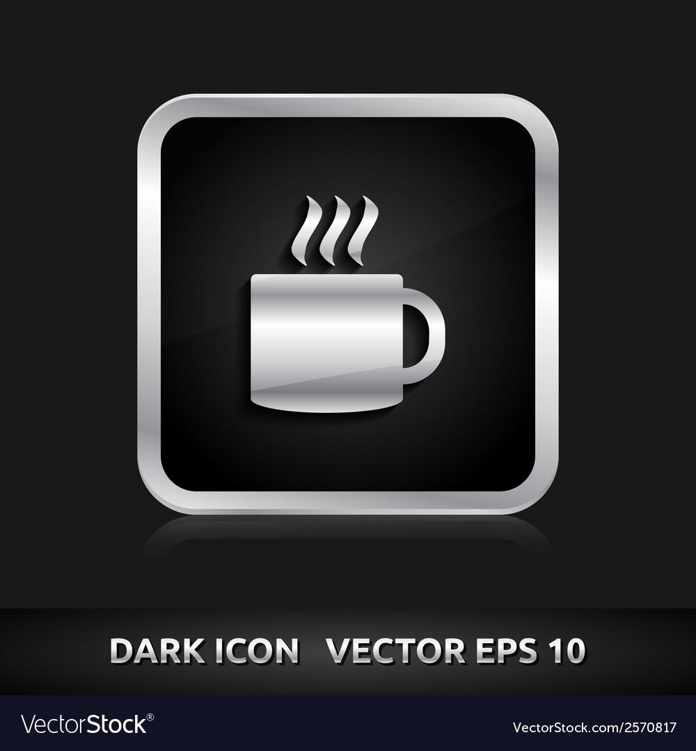 Cafe tea break icon silver metal vector | Price: 1 Credit (USD $1)