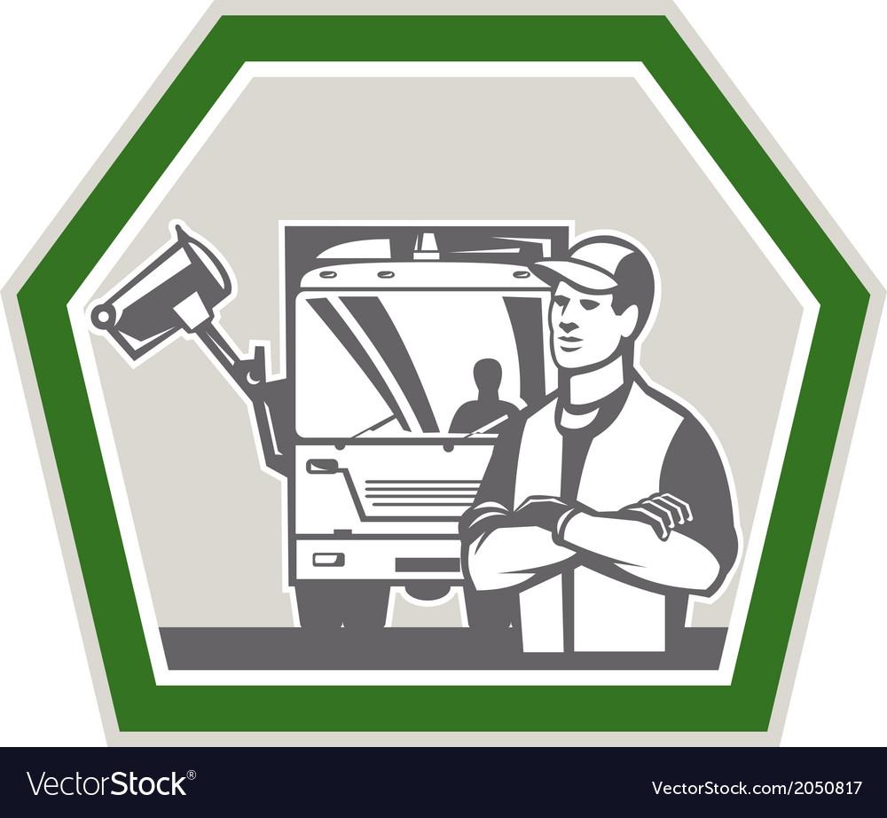 Garbage collector rubbish truck retro vector | Price: 1 Credit (USD $1)
