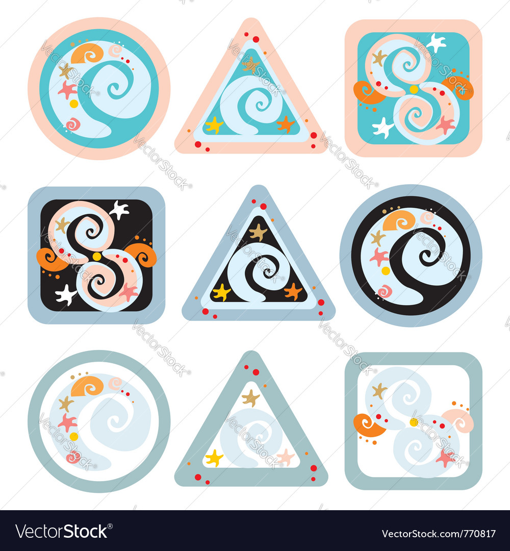 Geometrical signs with spirals vector | Price: 1 Credit (USD $1)