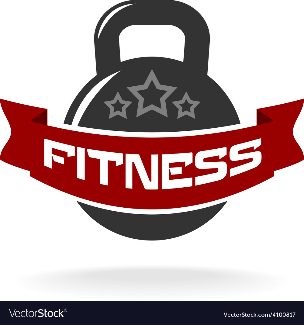 Gym fitness weight logo template with ribbon for vector | Price: 1 Credit (USD $1)
