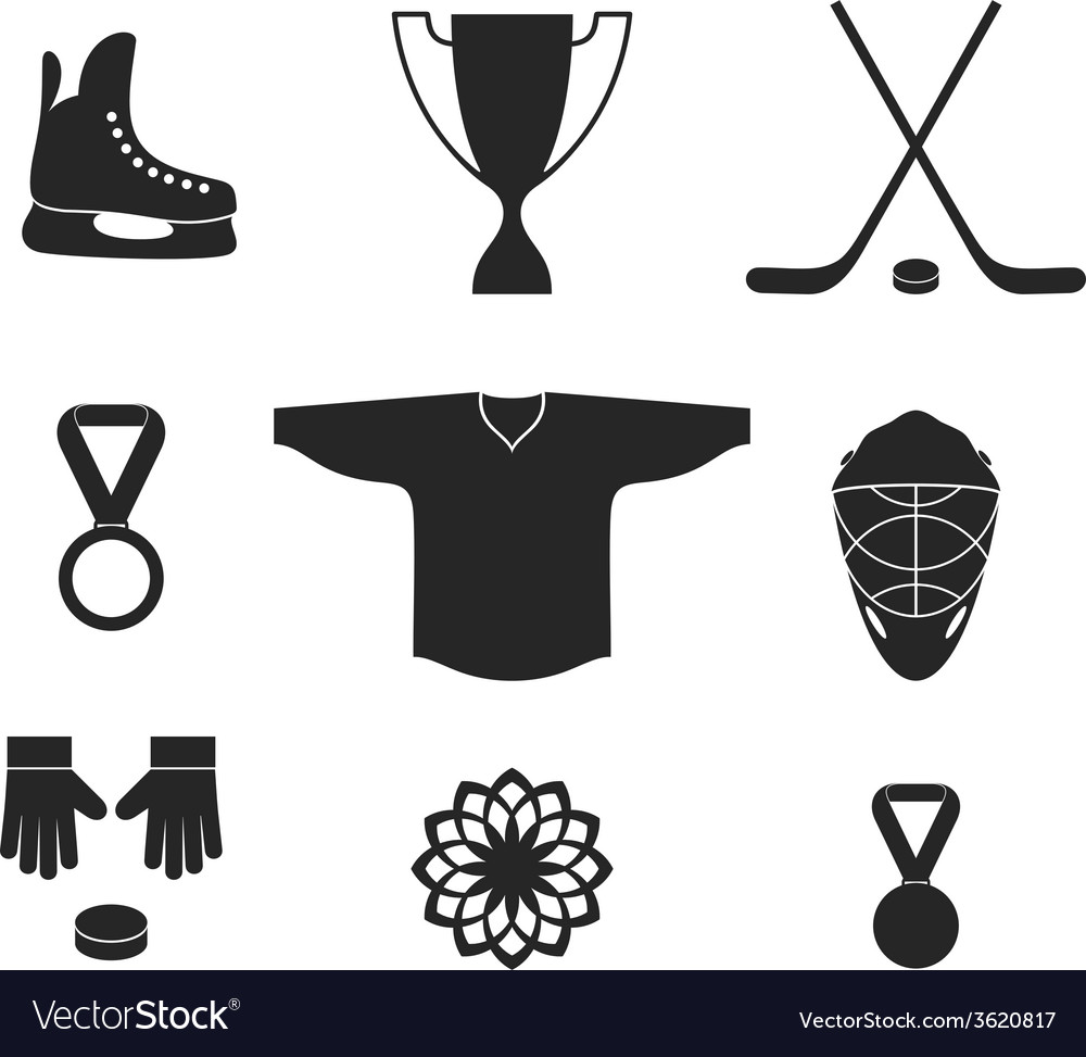 Ice hockey icon set vector | Price: 1 Credit (USD $1)