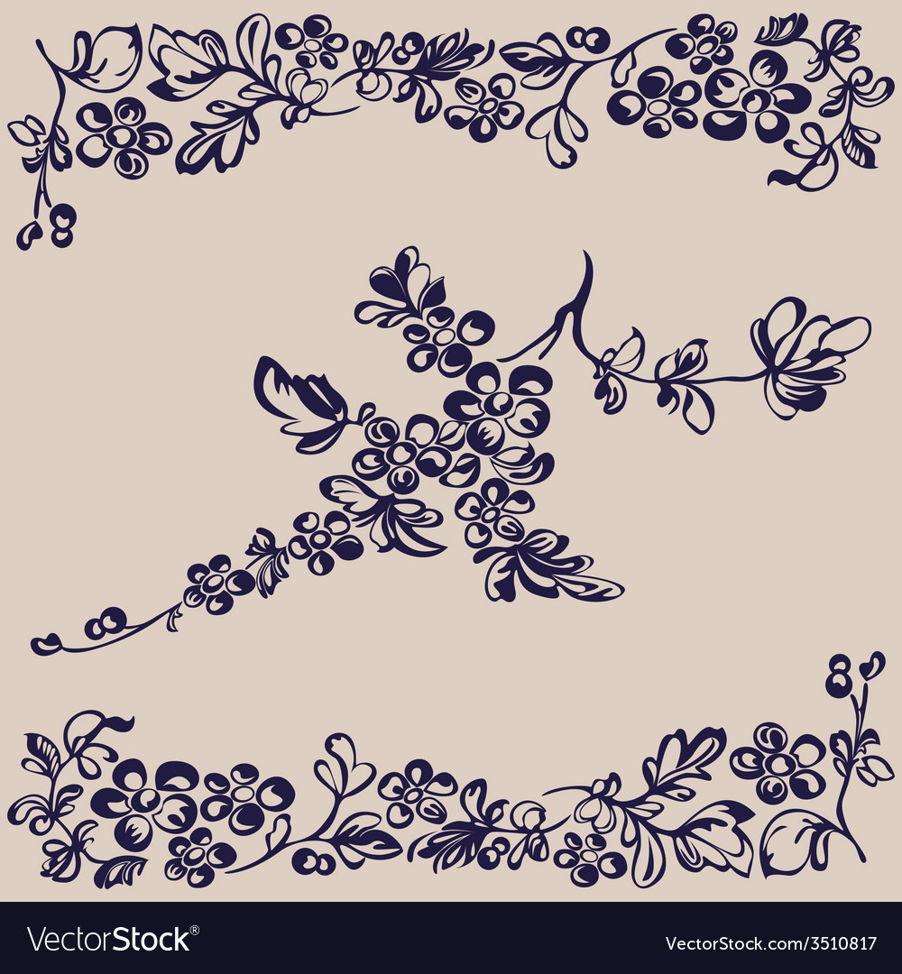 Pattern floral flower silhouette vector | Price: 1 Credit (USD $1)