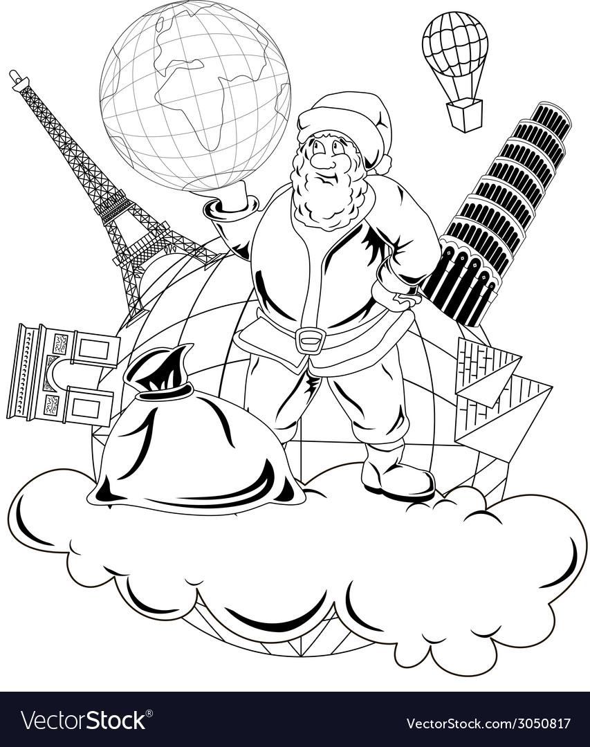 Santa claus with globe vector   Price: 1 Credit (USD $1)
