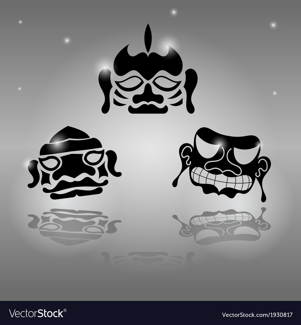 Set of african masks vector | Price: 1 Credit (USD $1)