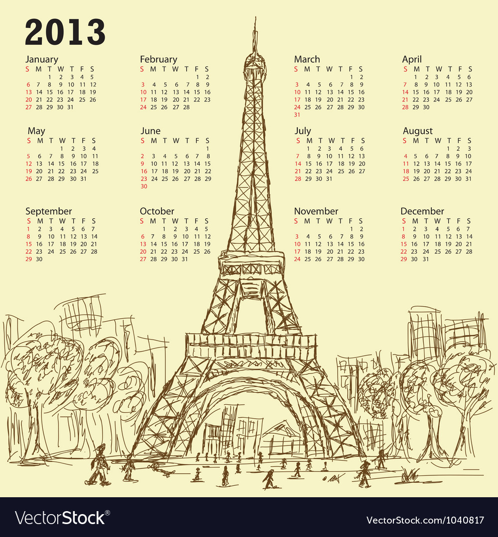 Vintage hand drawn of eifel tower 2013 calendar vector | Price: 1 Credit (USD $1)