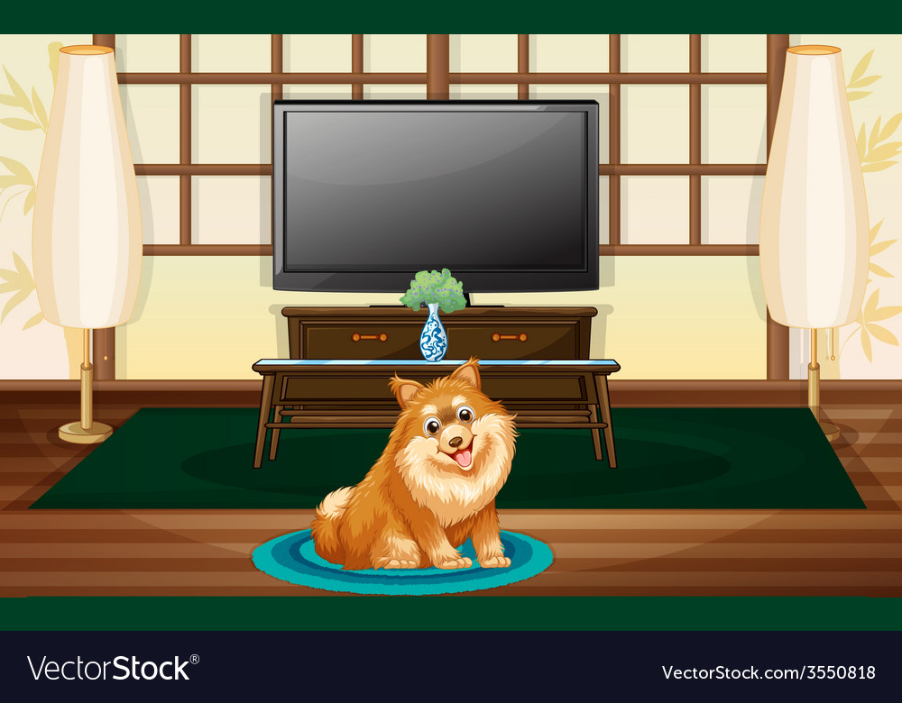 A cute dog inside the house vector | Price: 3 Credit (USD $3)