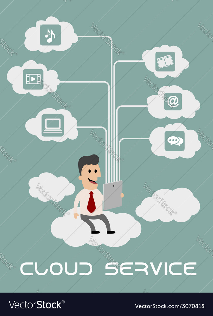 Businessman enjoying cloud computing vector | Price: 1 Credit (USD $1)