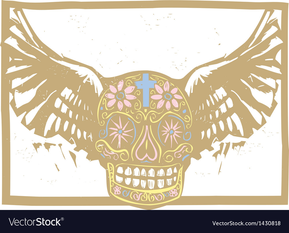 Color mexican winged skull vector | Price: 1 Credit (USD $1)