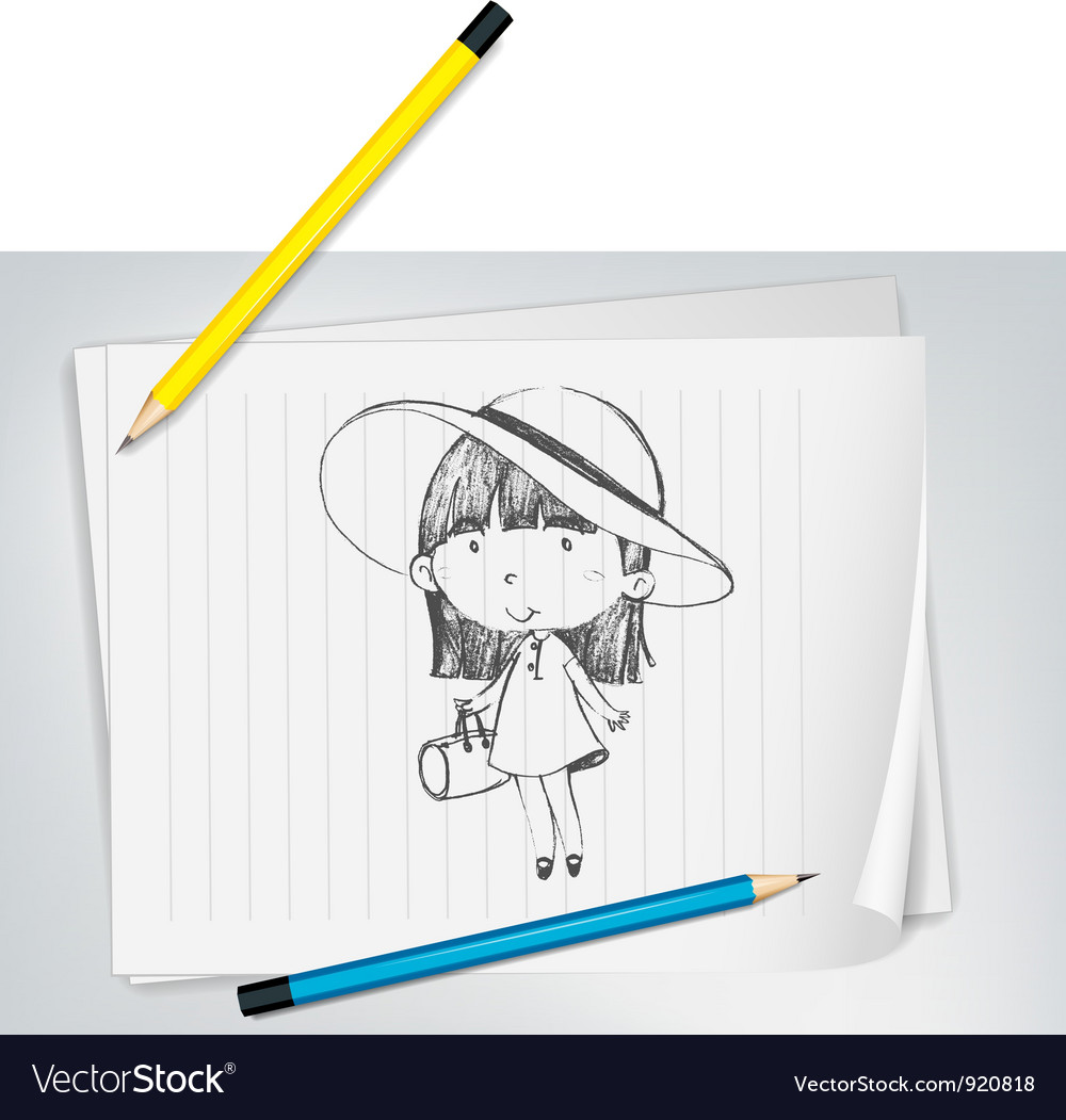Cute girl with hat vector | Price: 3 Credit (USD $3)