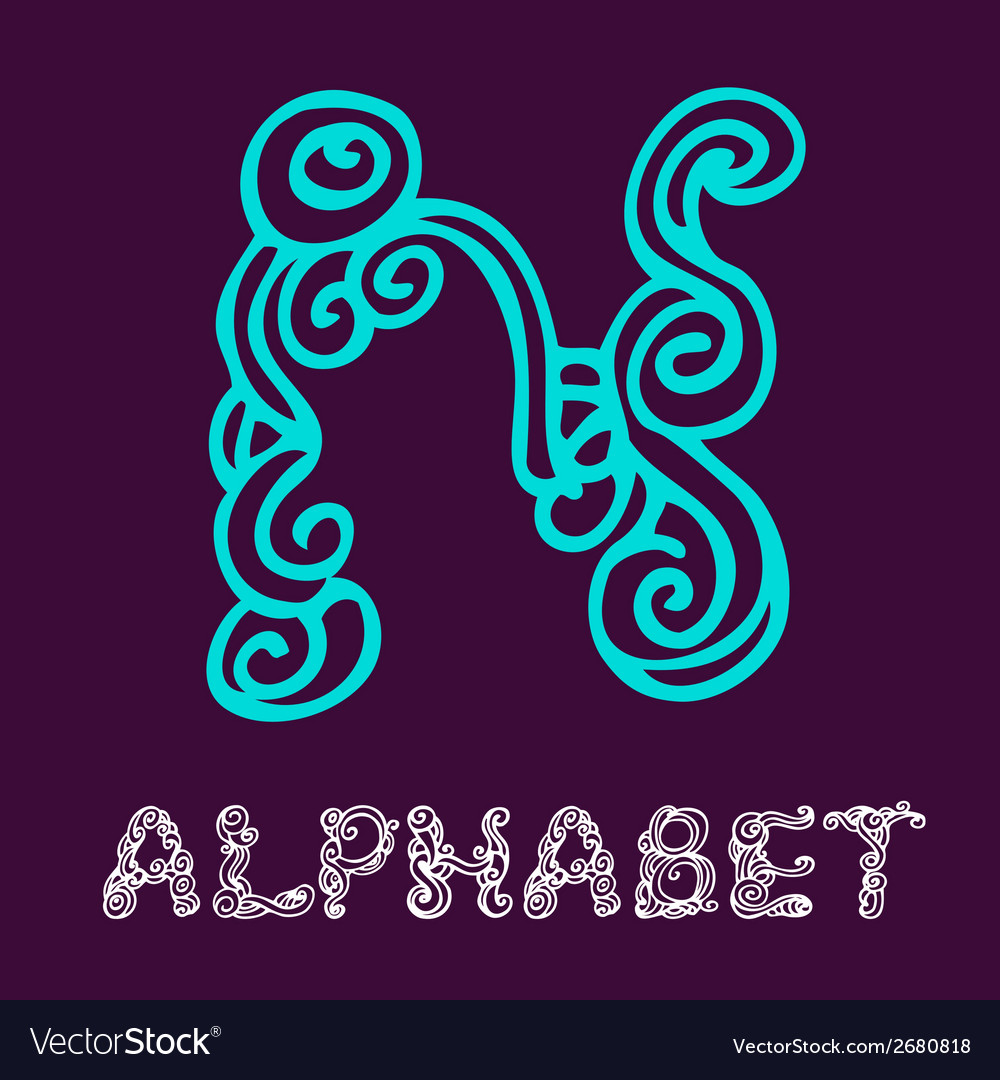 Doodle hand drawn sketch alphabet letter n vector | Price: 1 Credit (USD $1)