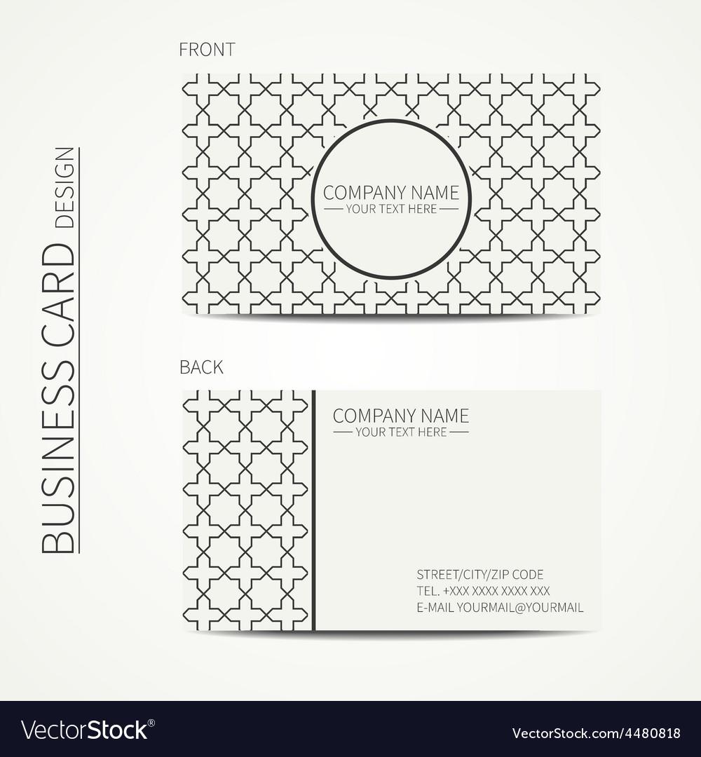 Geometric lattice monochrome business card vector | Price: 1 Credit (USD $1)