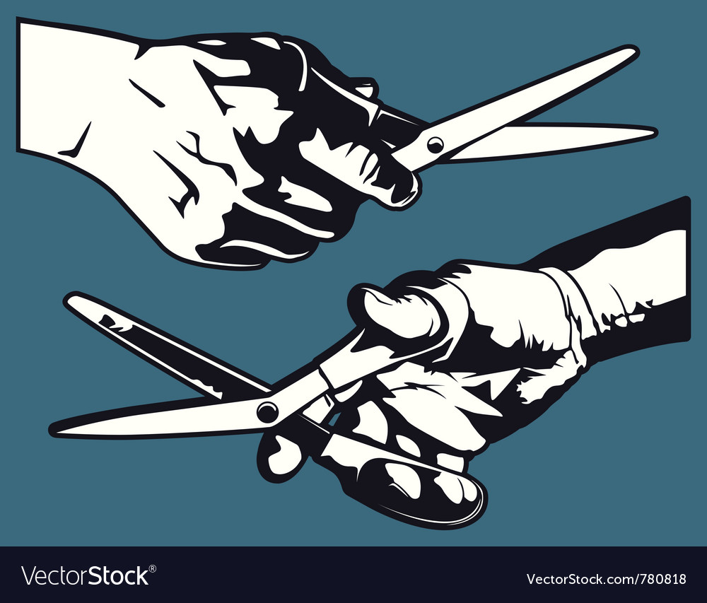 Hand with scissor graphics vector | Price: 1 Credit (USD $1)