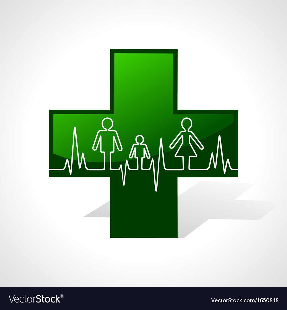 Heartbeat make family icon inside medical symbol vector | Price: 1 Credit (USD $1)