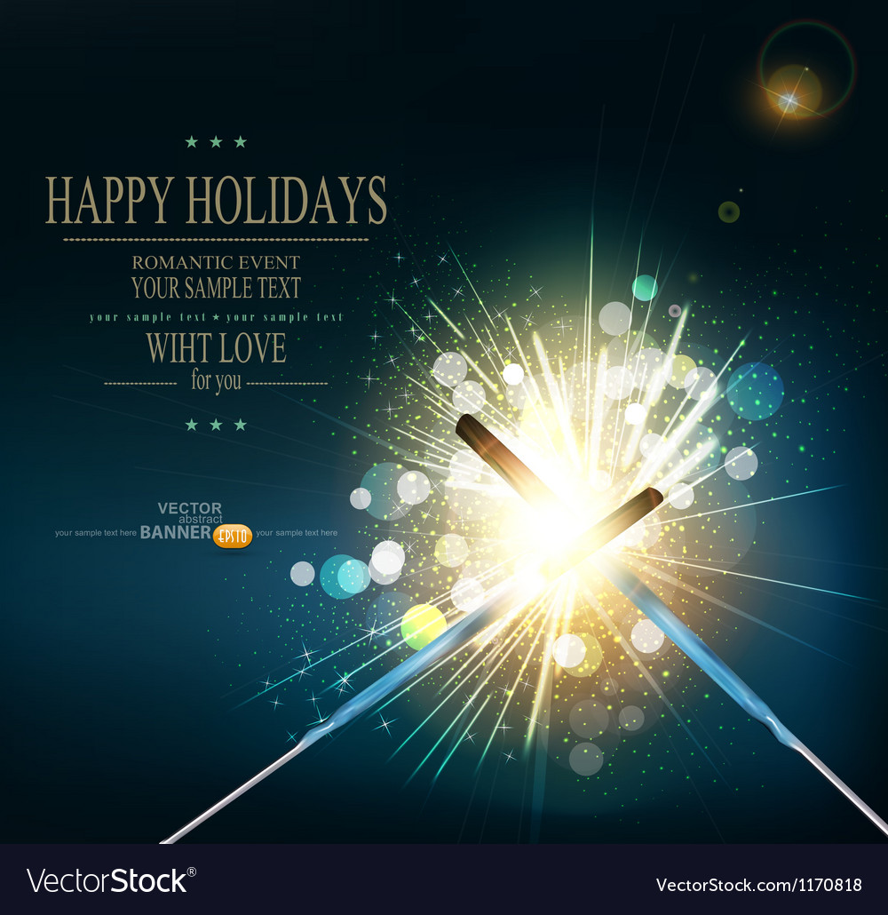 Holiday background with lit sparklers vector | Price: 3 Credit (USD $3)