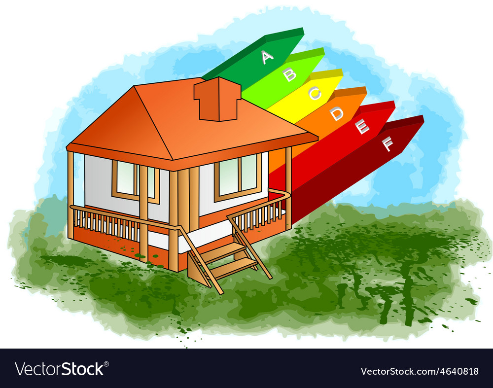 House with energy efficiency rating vector | Price: 1 Credit (USD $1)
