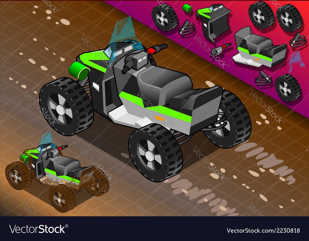 Isometric quad bike in rear view vector | Price: 1 Credit (USD $1)