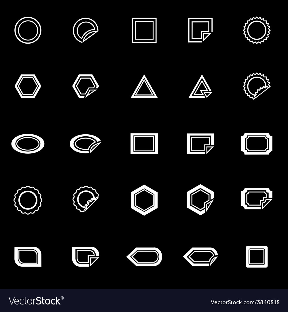 Label line icons on black background vector | Price: 1 Credit (USD $1)