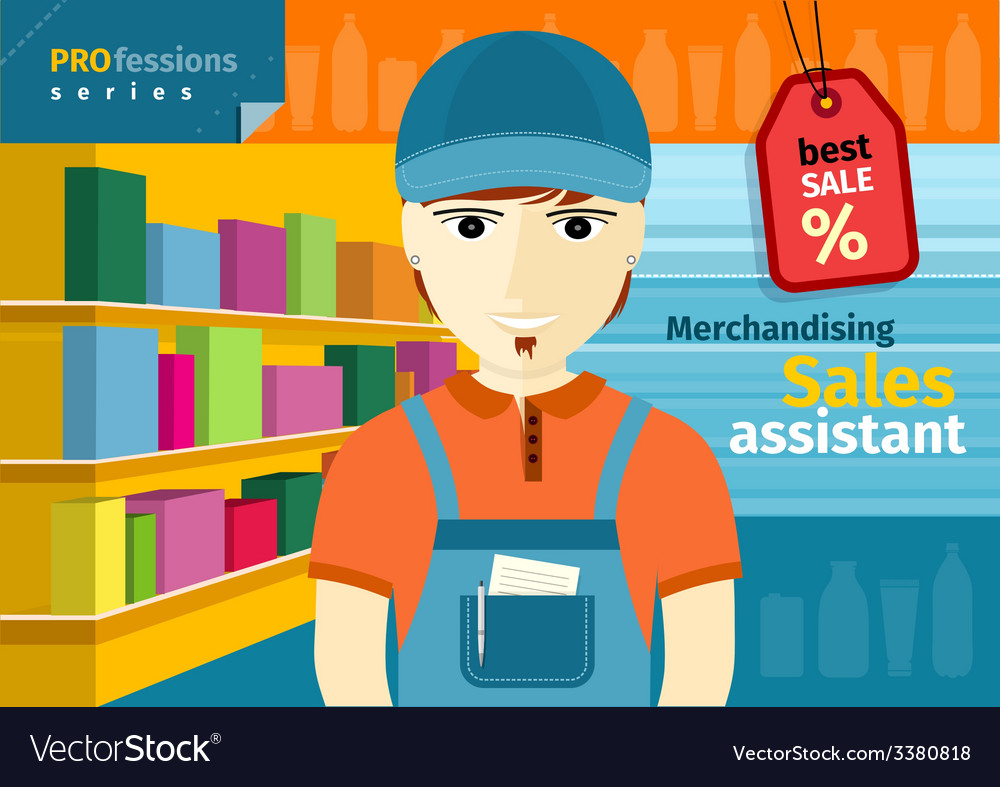 Male sales assistant in uniform on his workplace vector | Price: 1 Credit (USD $1)